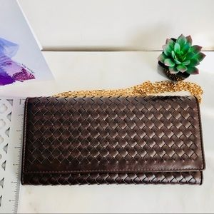 Bags - Brown Woven Leather Clutch / Sling Bag